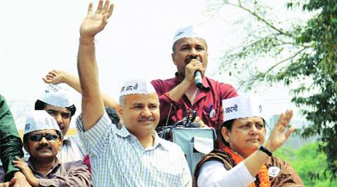 AAP leader Manish Sisodia campaigns in Patna. (PTI)