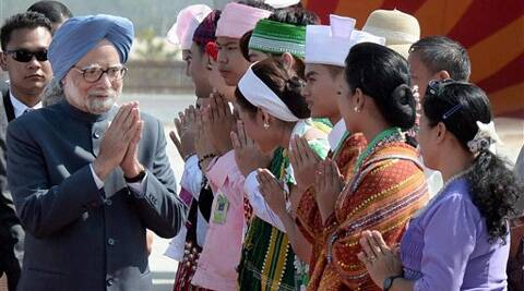 Prime Minister Manmohan Singh is welcomed on his arrival in Nay Pyi Taw on Monday to attend the 3rd BIMSTEC Summit. (PTI)