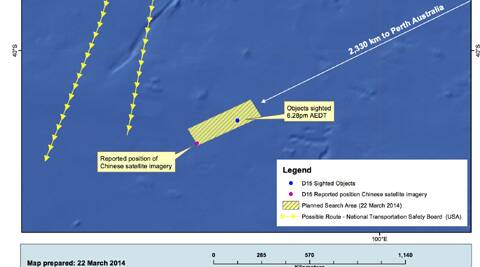 This Saturday, March 22, 2014 graphic provided by the Australian Maritime Safety Authority (AMSA), shows the approximate position of the objects seen floating in a Chinese satellite image in the southern Indian Ocean that the AMSA is concentrating its search for the missing Malaysia Airlines flight MH370 on. (AP)