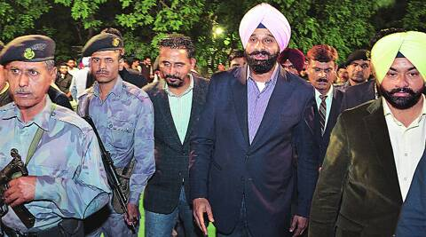 Former members of SOPU, PUSU, who joined SOI, with Punjab minister Bikramjit Singh Majithia at PU on Wednesday. (Photo: Kshitij Mohan)