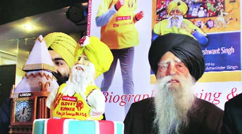 Fauja Singh during the function in Ludhiana on Thursday. (Gurmeet Singh)
