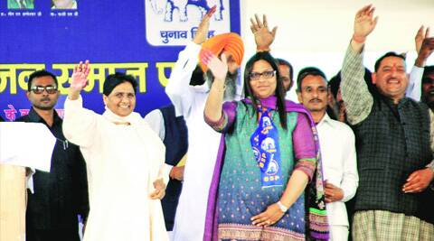 BSP supremo Mayawati with city candidate  Jannat Jahan during an election rally in Sector 25, Chandigarh on Sunday. (Sumit Malhotra)