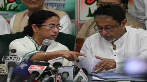 Mamata Banerjee releases the list of candidates at her home in Kolkata Wednesday. (IE Photo: Subham Dutta)