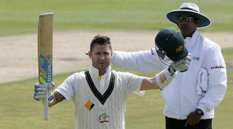 Michael Clarke was hit repeatedly on the body on Day One but shurugged off the blows to compile his 27th Test century (Reuters)