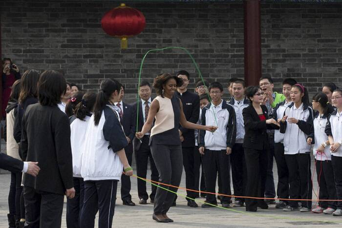 While in Beijing, she also visited an elite high school, where more than 30 American students are studying as exchange students, and she held a private discussion with a handful of Chinese professors, students and parents. (AP)