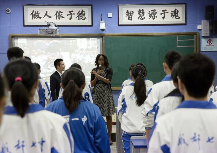 She was visiting Chengdu No. 7 High School in the southwestern province of Sichuan, an elite school known for its use of distance learning technology to bring quality education to impoverished remote regions in the mountainous province. (Reuters)
