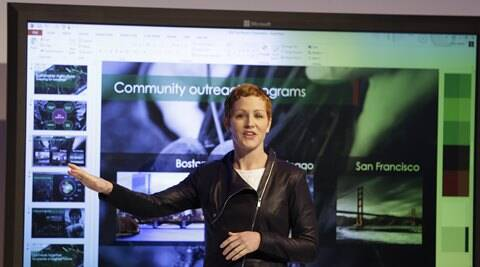 Microsoft General Manager Julia White gestures while talking about the Office 365 app. (AP)