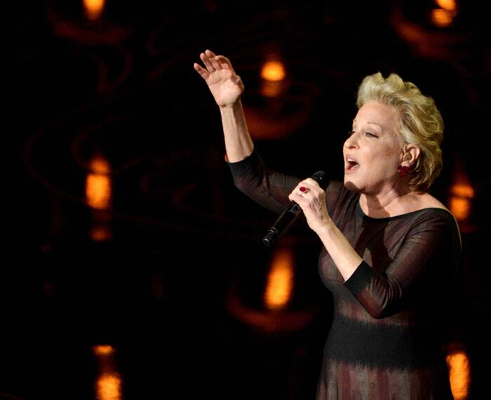 Bette Midler performs on stage during the Oscars at the Dolby Theatre on Sunday in Los Angeles.  (AP)