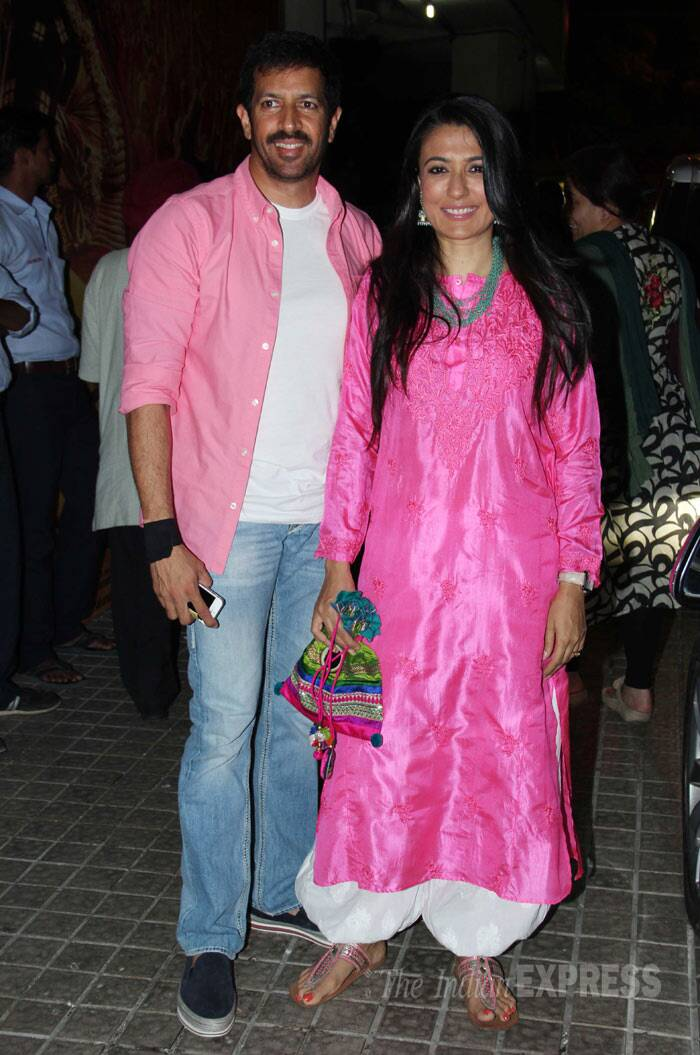 Painting the town pink : Mini Mathur was pretty in a bright pink kurta while her filmmaker husband Kabir Khan matched his wife. (Photo: Varinder Chawla)