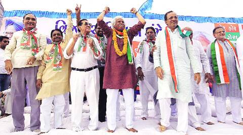 Madhusudan Mistry with party workers at a rally on Sunday. (Bhupendra Rana)