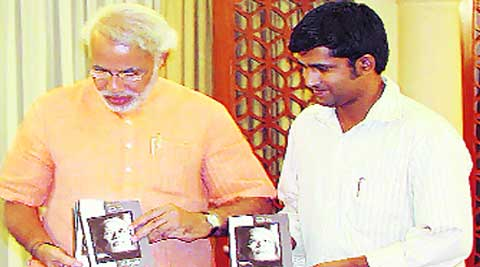 With Modi at the launch of the book