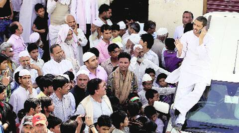 Congress's Imran Masood campaigns in Saiyed Mazar village in Saharanpur on Friday.