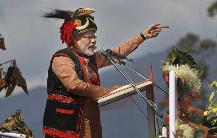 Narendra Modi addressing a rally in Pasighat in Arunachal Pradesh. (AP Photo)