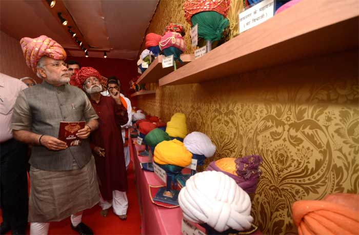 BJP's Prime Ministerial candidate Narendra Modi at the inauguration of National Craft Fair and Summit 2014 in Ahmedabad. (Express Photo Ashwin Sadhu)