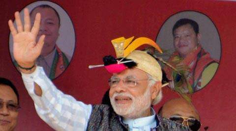 Narendra Modi urges people of Itnagar to make India free from misrule of the Congress. (AP)