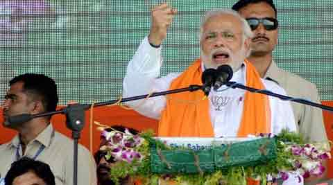 Narendra Modi during his election rally at Nanded,  Maharashtra on Sunday. (PTI)