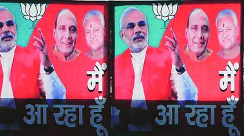 How confident is Narendra Modi of becoming the prime minister is evident from the posters put up the BJP in Lucknow. On Sunday. (Pramod Singh)