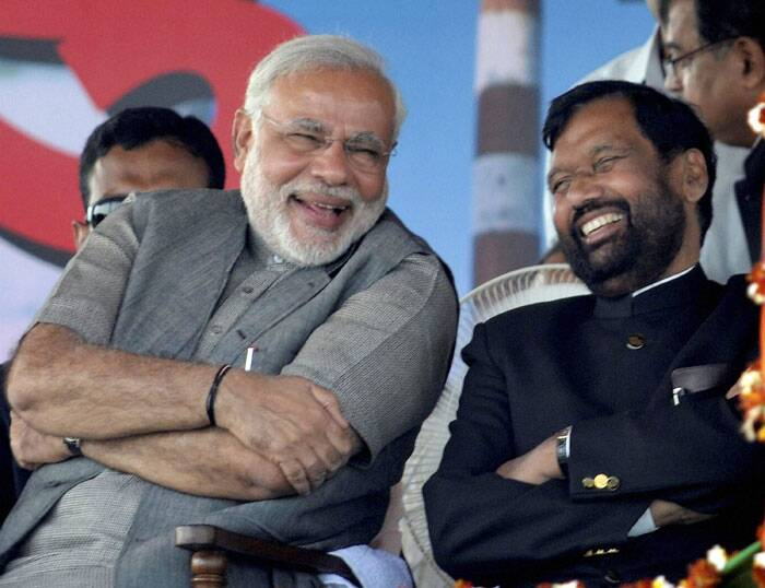 BJP Prime Ministerial candidate Narendra Modi and LJP chief Ram Vilas Paswan during the Hunkar rally in Muzaffarpur on Monday. (PTI)