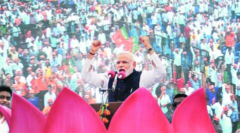 Narendra Modi addresses a 'Bharatha Gellisi' rally in Gulbarga on Friday. (PTI)