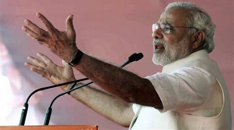 BJP's Prime Ministerial candidate Narendra Modi addressing an election rally in Wardha on Thursday. (PTI)
