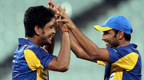 Laxmi Ratan Shukla and Mohammed Shami celebrate a wicket (PTI)