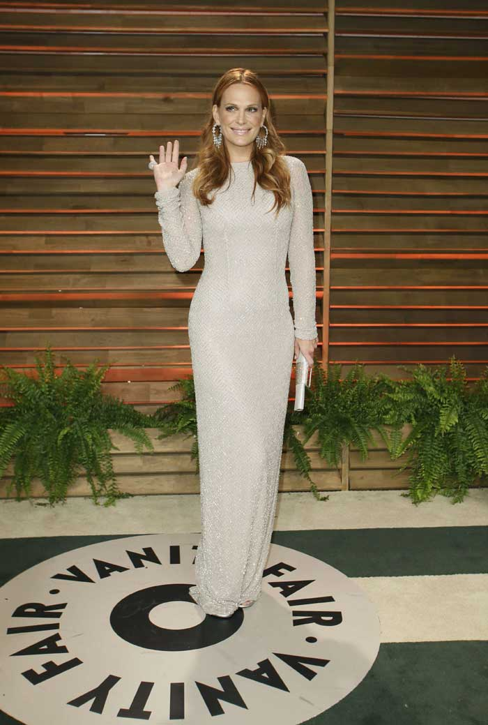 Molly Sims did not impress in the all white gown. (AP)