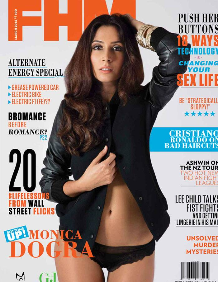 Singer/song-writer and actress Monica Dogra aka Shaa'ir turns on the heat as she shows off her rocking hot bod in a cover shoot. The 'Dhobi Ghat' actress is seen wearing a black Zara jacket with some lacy lingerie.