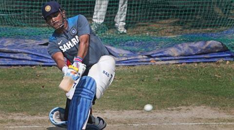Mahendra Singh Dhoni during a net session (AP)