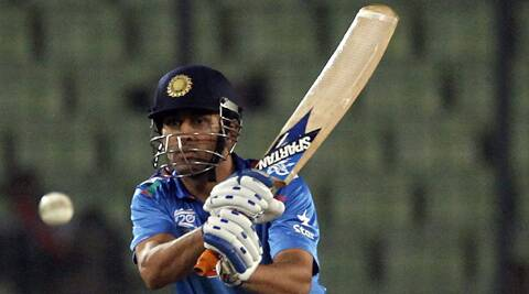 MS Dhoni plays a shot against Bangladesh during their ICC Twenty20 World Cup match on Friday. (Reuters)