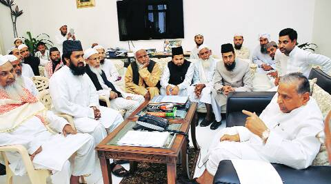 SP chief Mulayam Singh Yadav with clerics, in Lucknow on Wednesday. (Express)