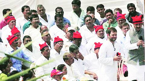 Rahul Gandhi meets the fishing community members in a Versova village Thursday. Pradip Das