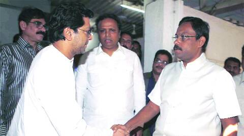 (From left) Raj Thackeray with BJP leaders Ashish Shellar and Vinod Tawde in Mumbai on Friday.