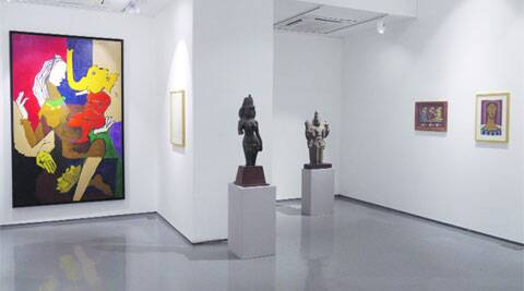 Estimated at Rs 1.8 crore, M F Husain's untitled work (painting on left) will go under the hammer at the first auction of Pundole's.