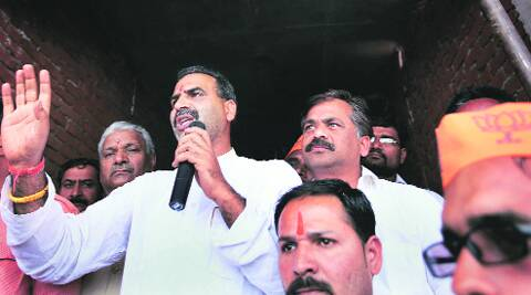 Sanjeev Baliyan at campaign in Daurala on Wednesday.