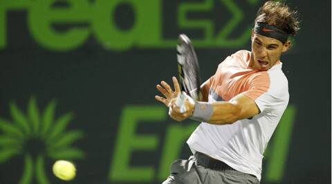 Rafael Nadal hits a forehand against Lleyton Hewitt (not pictured) on day six of the Sony Open. (USA Today Sports)