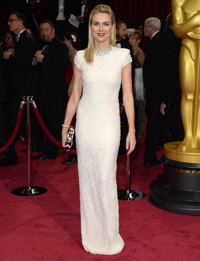 Australian actress Naomi Watts was easily one of our Oscar best dressed in a white sequined Calvin Klein dress. Red lips and a geometric patterned monochrome Bulgari clutch completed the look. (AP)