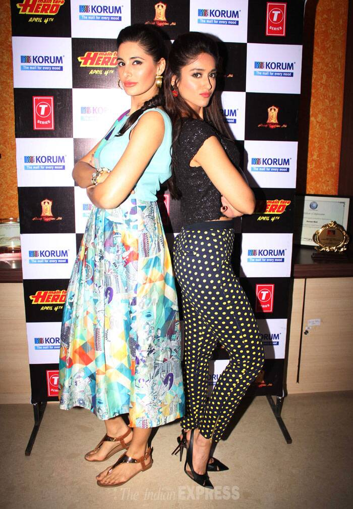 Film's leading ladies Ileana D'Cruz and Nargis Fakhri, pose together for the shutterbugs. (Photo: Varinder Chawla)
