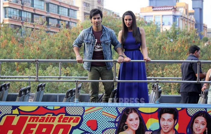 Varun, Nargis take a bus ride