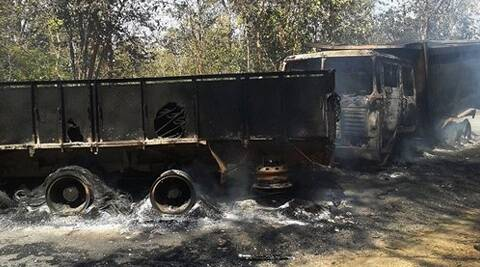 Charred vehicles after Maoists attacked a joint search party of CRPF and police near Tongpal in Sukma district of Chhattisgarh on Tuesday. (PTI)