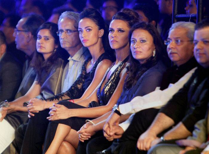 Bollywood actress and fashionista Neha Dhupia enjoyed a front row seat at fashion show. (PTI)