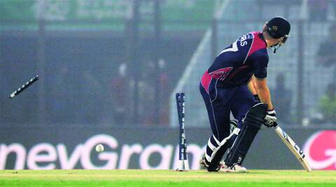 Paras Khadka, Nepal's captain and top-scorer against Bangladesh with 41, is bowled by Mashrafe Mortaza on Tuesday. Nepal lost by 8 wickets. AP