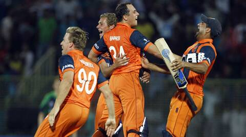 Netherlands celebrating after registering a stunning win over Ireland.  (AP)