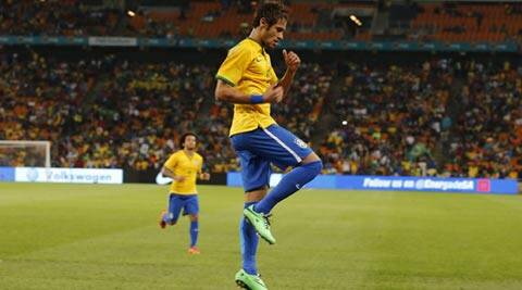 Brazil's Neymar celebrates his goal against South Africa during their international friendly soccer match (Reuters)
