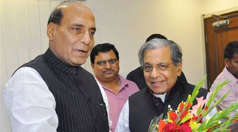 BJP President Rajnath Singh welcomes NK Singh who joined the party leaving JD-U, in New Delhi on Saturday. (PTI Photo)