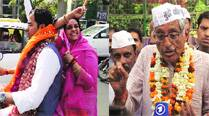 Pravesh Sahib Singh, wife Swati head to file nomination papers; AAP's Rajmohan Gandhi in East Delhi on Friday. (IE)