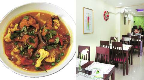Fish curry, cooked in the Manipuri way; limited seating inside the restaurant.