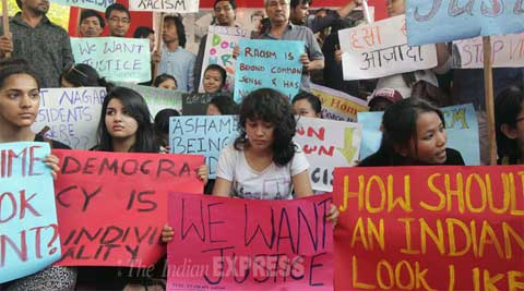 In this file photo, students from Northeast protest against the killing of the 19-year-old Nido Taniam in Delhi last month. (Express Archive)