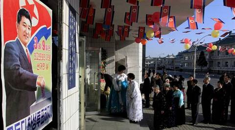 Voters line up to cast their ballots to elect deputies to the 13th Supreme People's Assembly in Pyongyang. (AP)