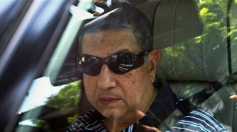 N Srinivasan leaves from his Boat Club residence, in Chennai on Friday. (PTI)