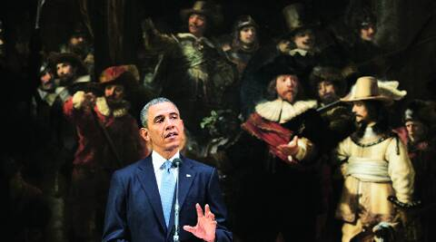 US President Barack Obama in front of Rembrandt's 'The Nightwatch' at Rijksmuseum in Amsterdam, Monday.AP